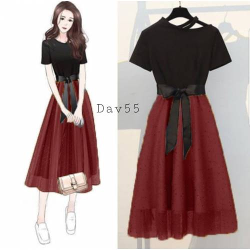 Davina dress Maroon