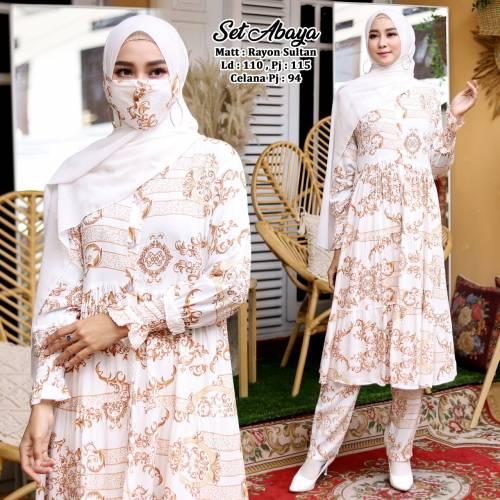 Set Abaya White +Masker