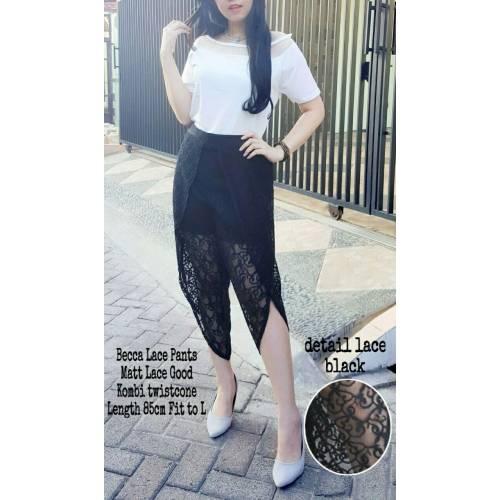 becca lace pants hitam