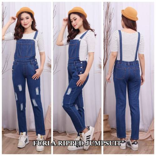 Furla Ripped Jumpsuit Drak Blue