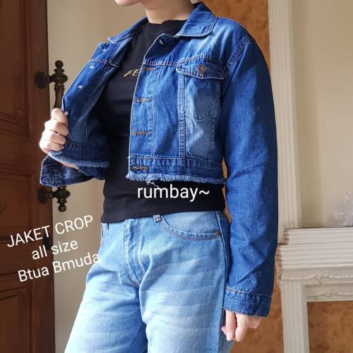 Jaket crop Rumbai dark blue
