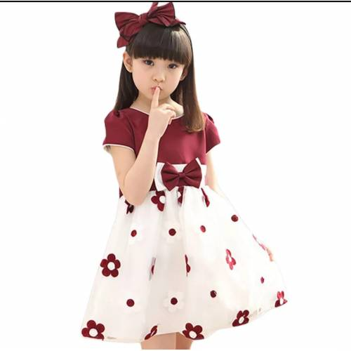 Dress kids Bee flower maroon