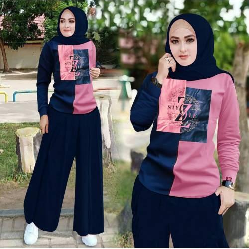 Set Kulot Style ZZ Navy Pink
