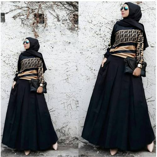 Setelan fendy rok black