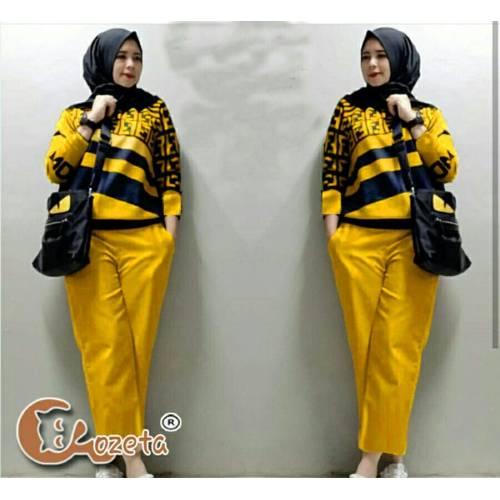 setelan fendy celana yellow