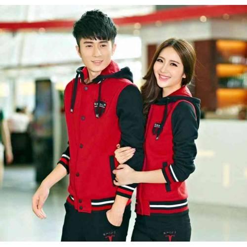 Couple Jaket Sport Merah Hitam
