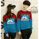 Couple Sweater Doraemon kombinasi Maroon