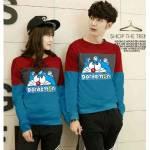 Couple Sweater Doraemon kombinasi Maroon
