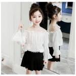 Kids blouse Nadin tile white
